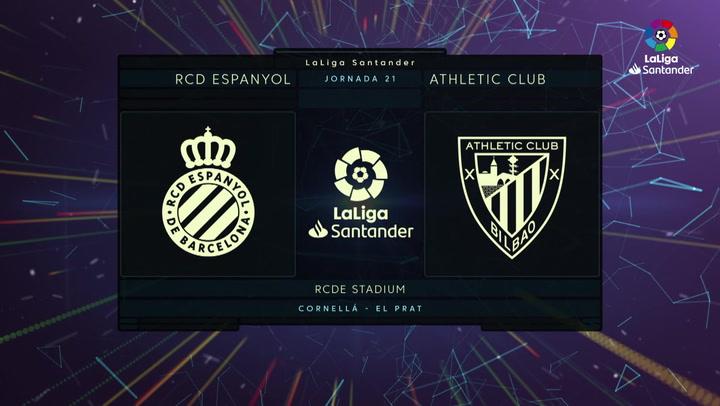 LaLiga (J21): Resumen y goles del Espanyol 1-1 Athletic