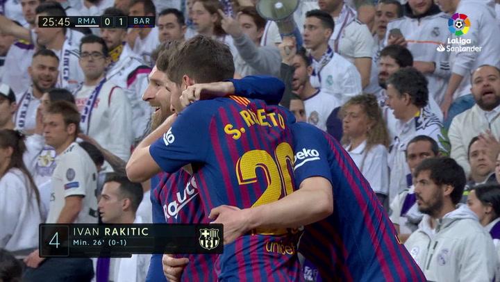 LaLiga: Real Madrid - Barça. Gol de Ivan Rakitic en el minuto 26 (0-1)