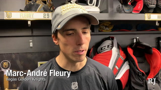 Golden Knights talk after practice