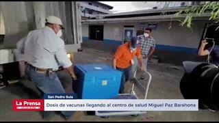 Dosis de vacunas llegando al centro de salud Miguel Paz Barahona