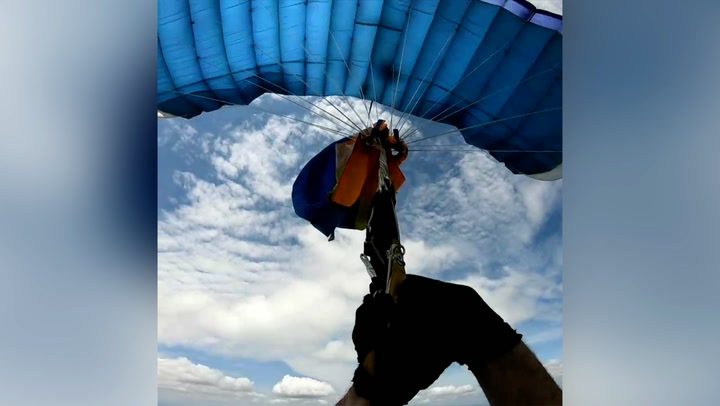 Skydiver's parachute gets tangled 3,500ft above ground