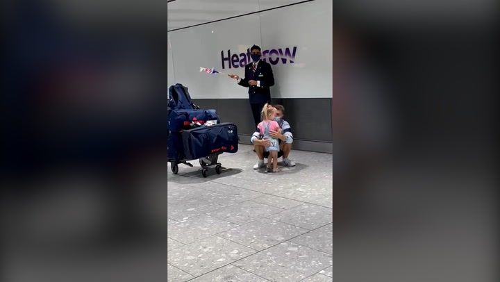 Olympian Max Whitlock reunited with daughter at airport in adorable video