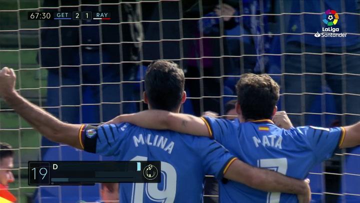 LaLiga: Getafe-Rayo Vallecano.Gol (2-1) de Jorge Molina(min 68)