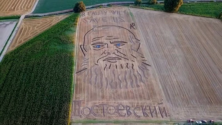 Artist mows gigantic portrait of Dostoevsky into field to mark 200th anniversary