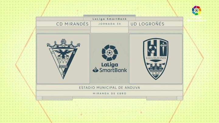 LaLiga SmartBank (J34): Resumen y goles del Mirandés 0-1 Logroñés