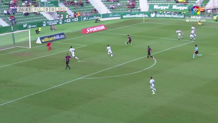 Así fue el gol de Manu que dio el triunfo al Sporting en Elche