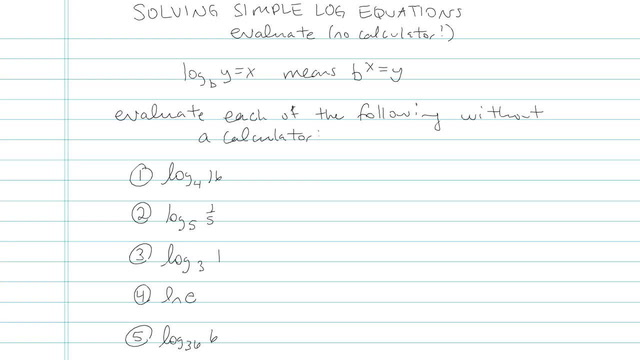 Solving Simple Logarithmic Equations - Problem 7