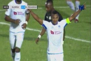 Ever Alvarado anota el 3 - 0 de Olimpia ante Honduras Progreso