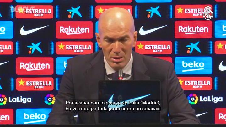 """Zidane fala em boa partida do Real Madrid e enaltece seus jogadores: """"Orgulhoso"""""""