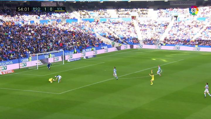 Gol de Trigueros (p.) (1-1) en el Real Sociedad 1-2 Villarreal