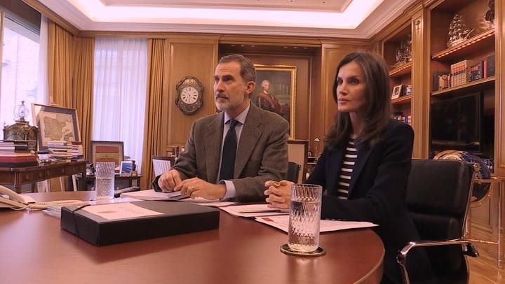 Primeras imágenes de doña Letizia reunida con el Rey y el presidente de Mercadona, Juan Roig