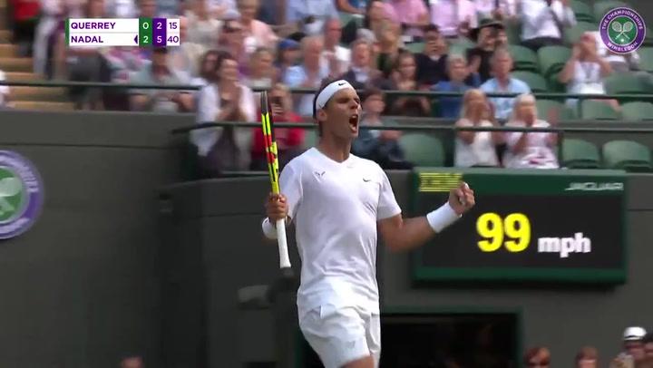 Nadal cerró con un poderoso 'drive' marca de la casa su victoria ante Querrey, y se cita con Federer en semis