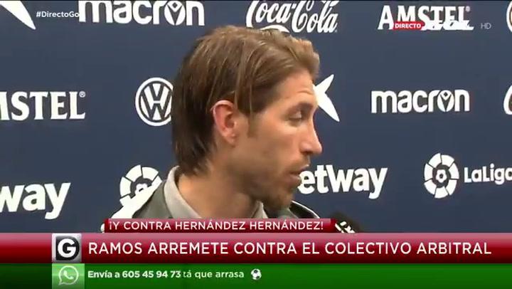 Sergio Ramos, crítico con el árbitro tras el partido del Levante
