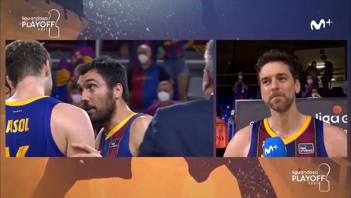 An excited Gasol explains how the feeling of winning the league against Madrid has been
