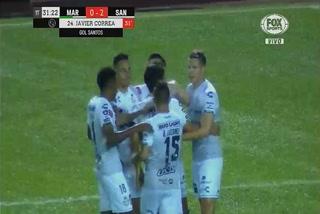 Javier Correa marca su  doblete de la noche en el Santos vs Marathón