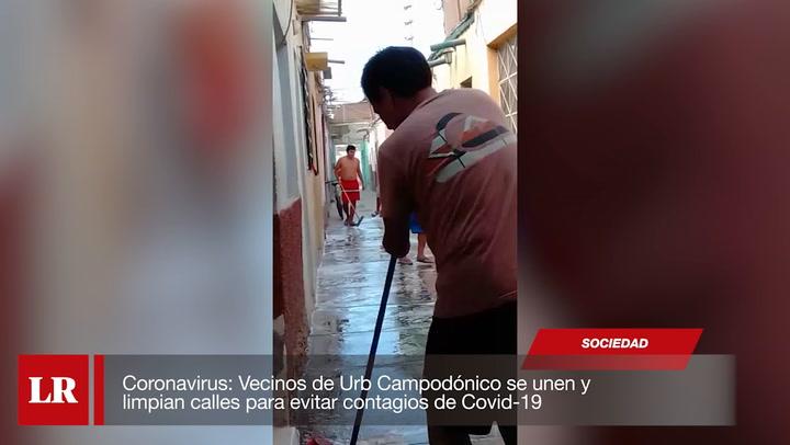 Coronavirus: Vecinos de Urb Campodónico se unen y limpian calles para evitar contagios de COVID-19