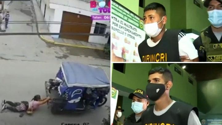 Policía detiene a ladrones que arrastraron a mujer con mototaxi (VIDEO)