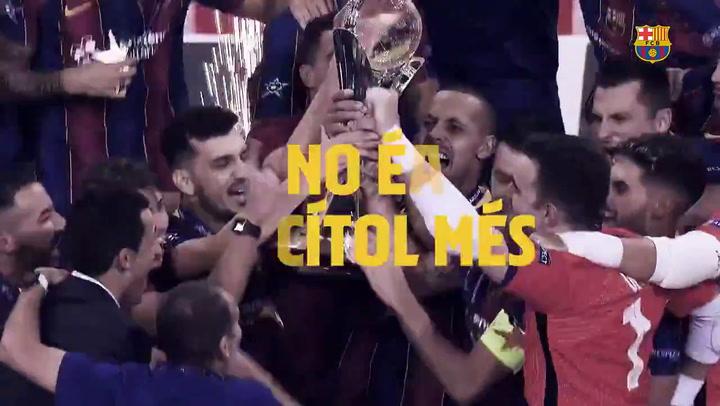 El Barça de fútbol sala dedica la copa a la afición