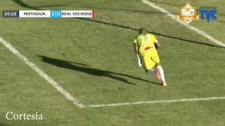 Marco Tulio Vega anotó el 2-0 para Motagua tras error de la Real Sociedad