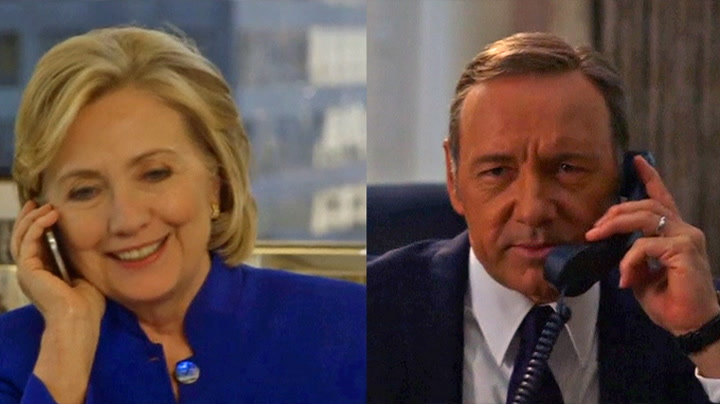 Se House of Cards-Spacey «tulleringe» Hillary Clinton