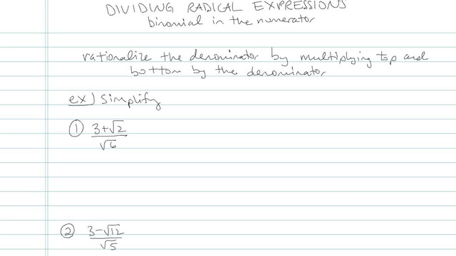 Dividing Radicals and Rationalizing the Denominator - Problem 9