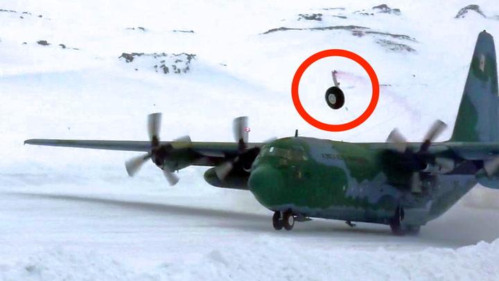 Flyet skrenser inn til katastrofelanding på glattisen