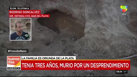 Una nena de tres años murió en Mar del Plata tras el derrumbe de un acantilado