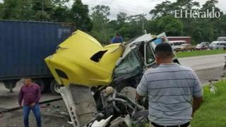 Un muerto deja accidente entre dos rastras en la carretera a Puerto Cortés