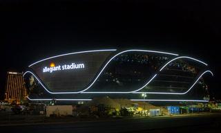 Allegiant Stadium lights up the night