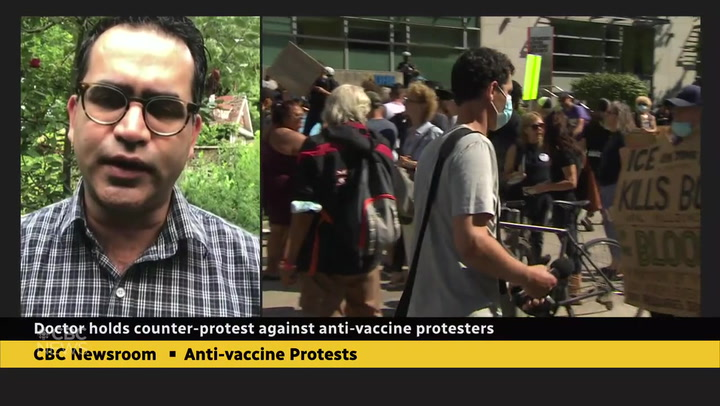 Doctor holds counter-protest against anti-vaxxers targeting hospitals