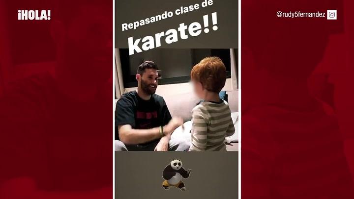 Alan, el hijo de Helen Lindes y Rudy Fernández, ¡todo un karateca!
