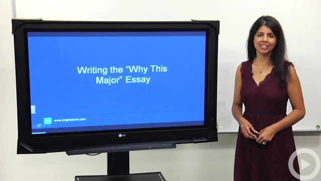 "Writing the ""Why This Major Essay"""