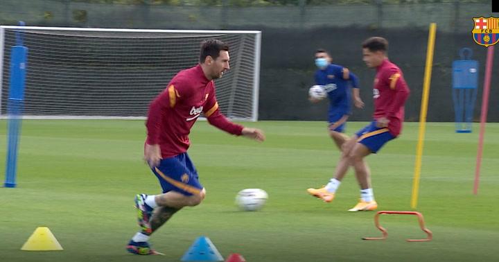Primera sesión de entrenamiento del Barça, el 8 de septiembre de 2020