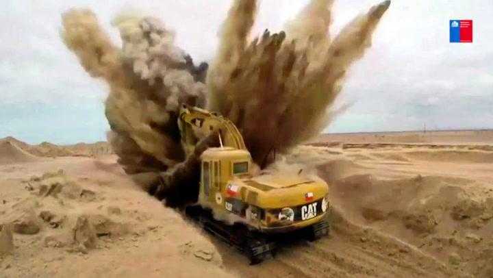 Plutselig traff graveren en landmine