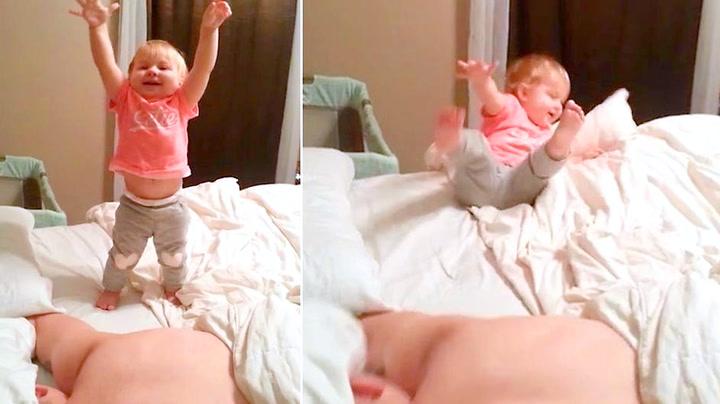 Pappa reagerte lynrask da datteren falt mot gulvet