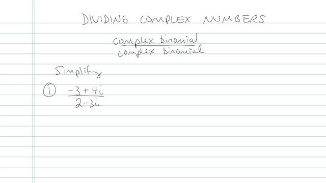 Dividing Complex Numbers - Problem 6