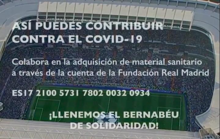 """""""Llenemos el Bernabéu de solidaridad"""", la campaña del Madrid contra el coronavirus"""