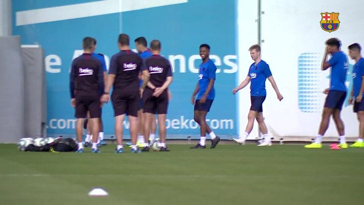 El Barça se ejercitó antes del desplazamiento a Getafe