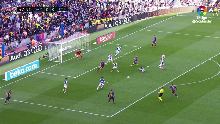LaLiga: Barça - Espanyol. Philippe Coutinho chuta fuera en el minuto 67