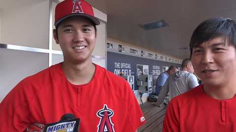 Shohei Ohtani on pitching update & what position he'd play in NL