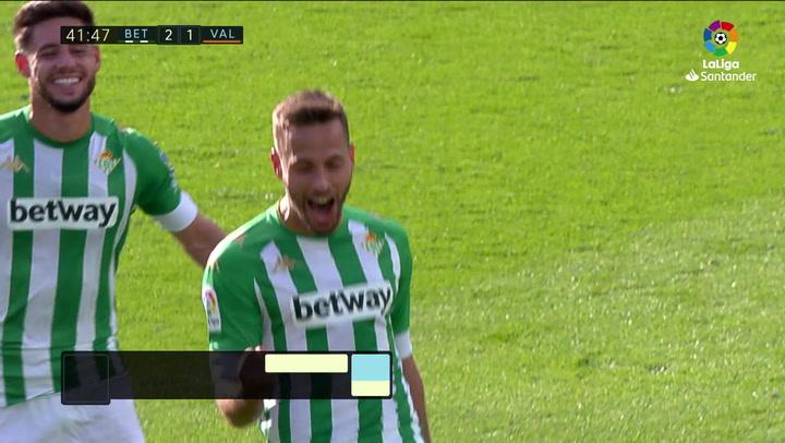 Gol de Canales (2-1) en el Betis 2-2 Valencia
