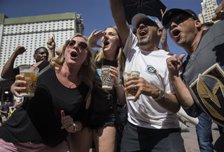 Knights Fans Watch Game Two Against Capitals Outside T-Mobile Arena