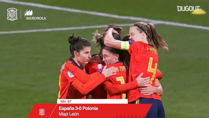 El gran gol de cabeza de Mapi León ante Polonia