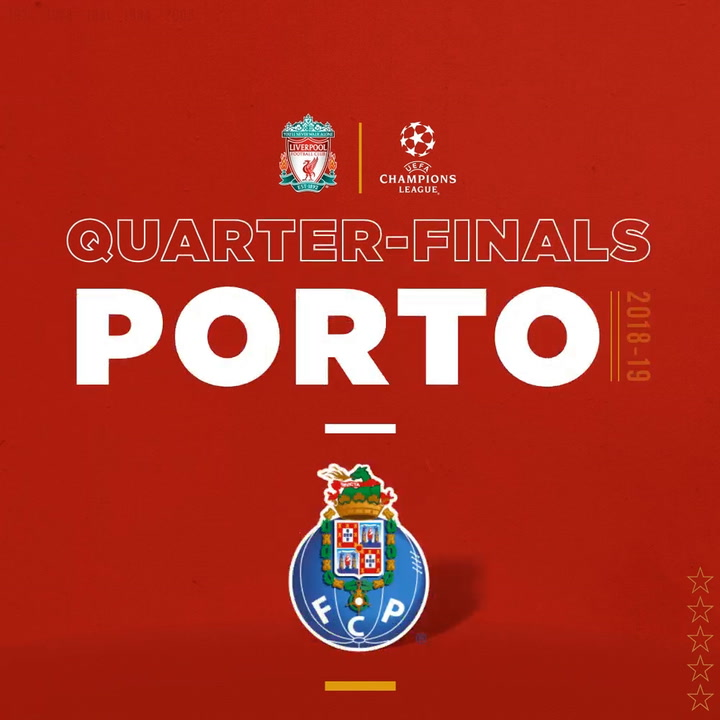 Liverpool face Porto in UCL quarter-final