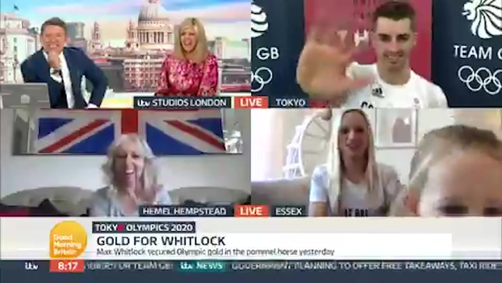 Olympic gymnast Max Whitlock's two-year-old daughter crashes live interview