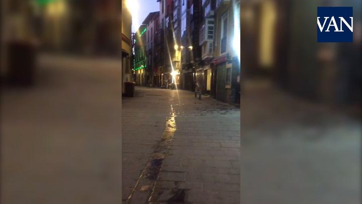 Las calles de Vitoria, desiertas por el coronavirus