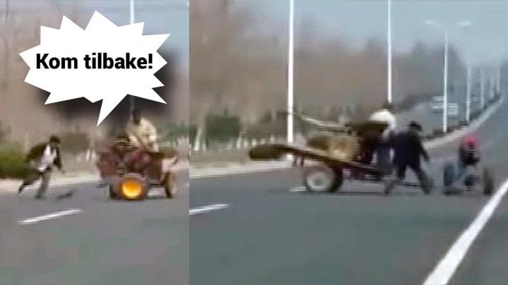 Mann mot løpsk traktor på motorveien