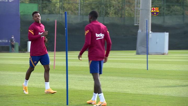 El Barça se ejercita durante el martes