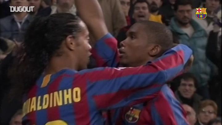 Todos os gols de Samuel Eto'o pelo Barça contra o Real Madrid