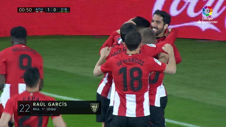 LaLiga: Athletic Bilbao - Eibar. Gol de Raúl García en el minuto 1 (1-0)